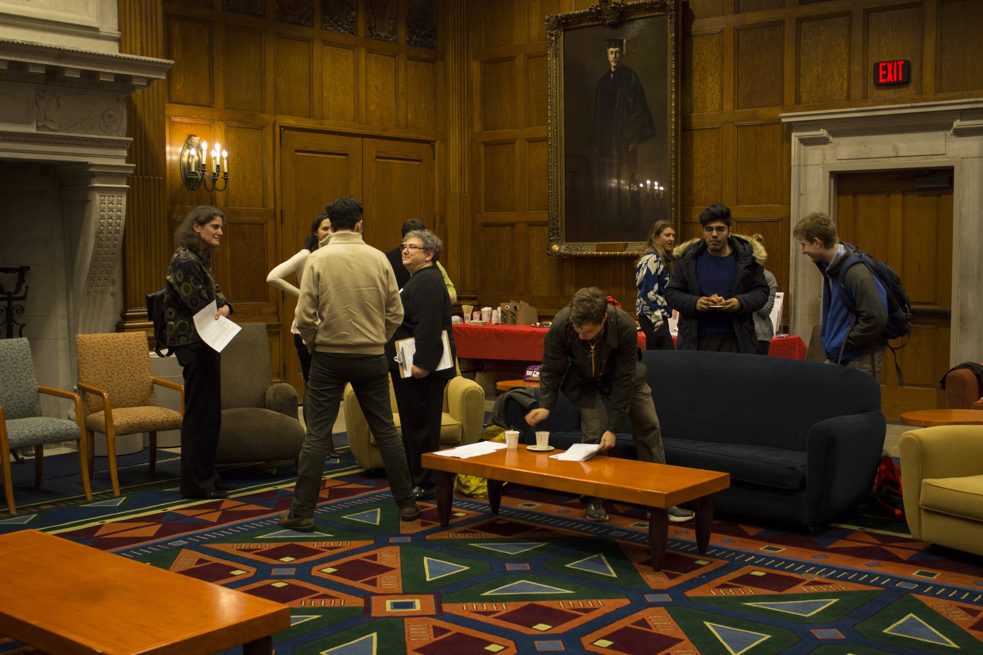 Members of a Harvard College alumni panel gather with freshmen in the Barker Center to discuss financial opportunity for those choosing to pursue a degree in the humanities. During Harvard's Advising Fortnight, departments across the college host numerous events to attract potential concentrators.