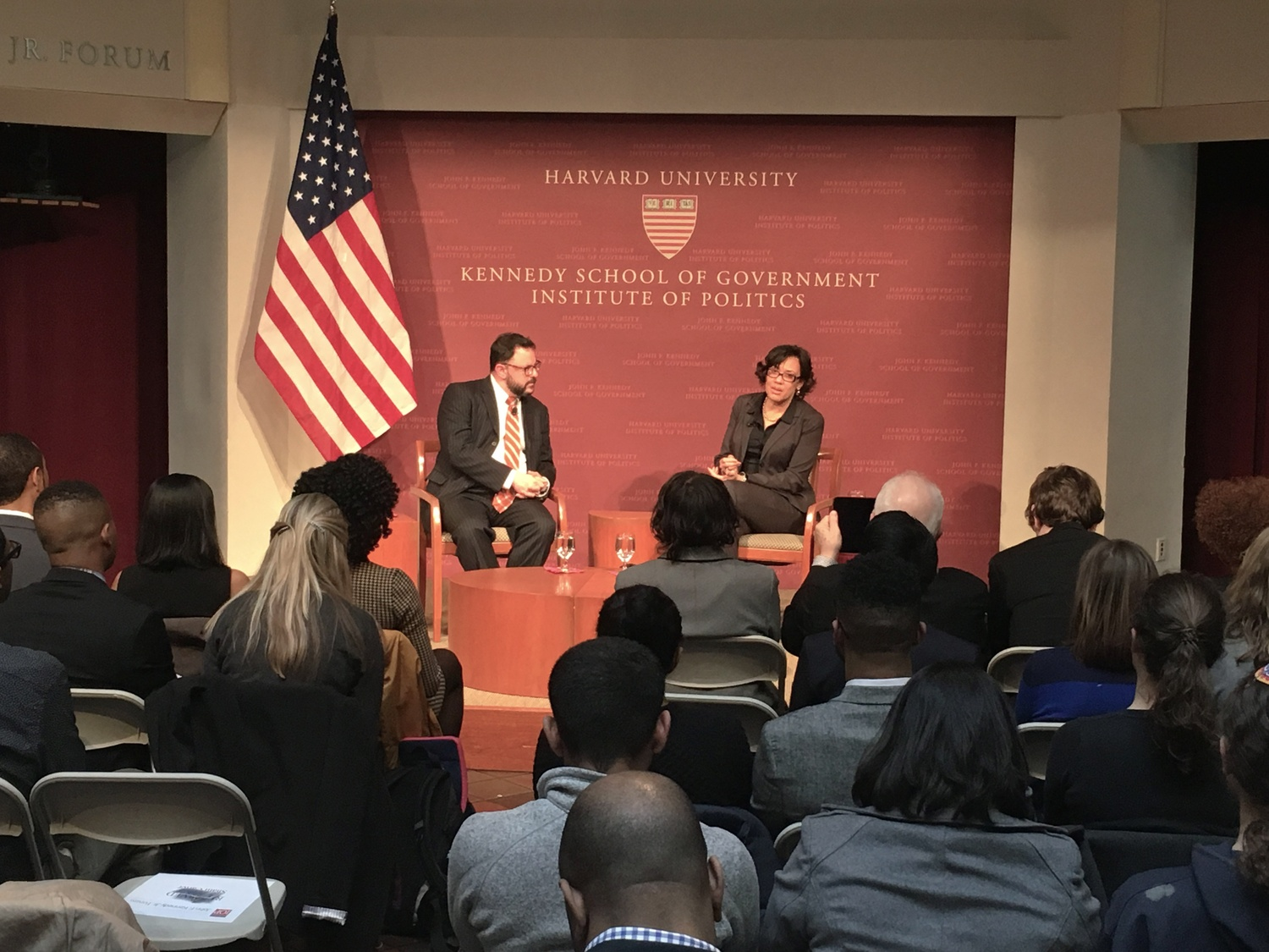 Karen W. Weaver, mayor of Flint, Michigan visited the Kennedy School on Friday to discuss the city's water crisis.