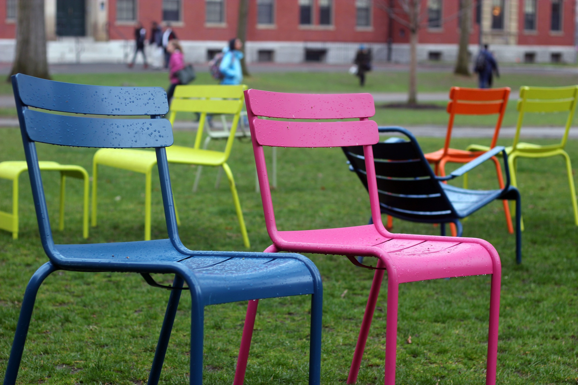 The colorful chairs that have become a staple of the Yard for the warmer months were placed back in Harvard Yard this week. The chairs were first added to the Yard in 2009 as part of the Harvard Common Spaces effort to make the Yard more accessible for the entire community