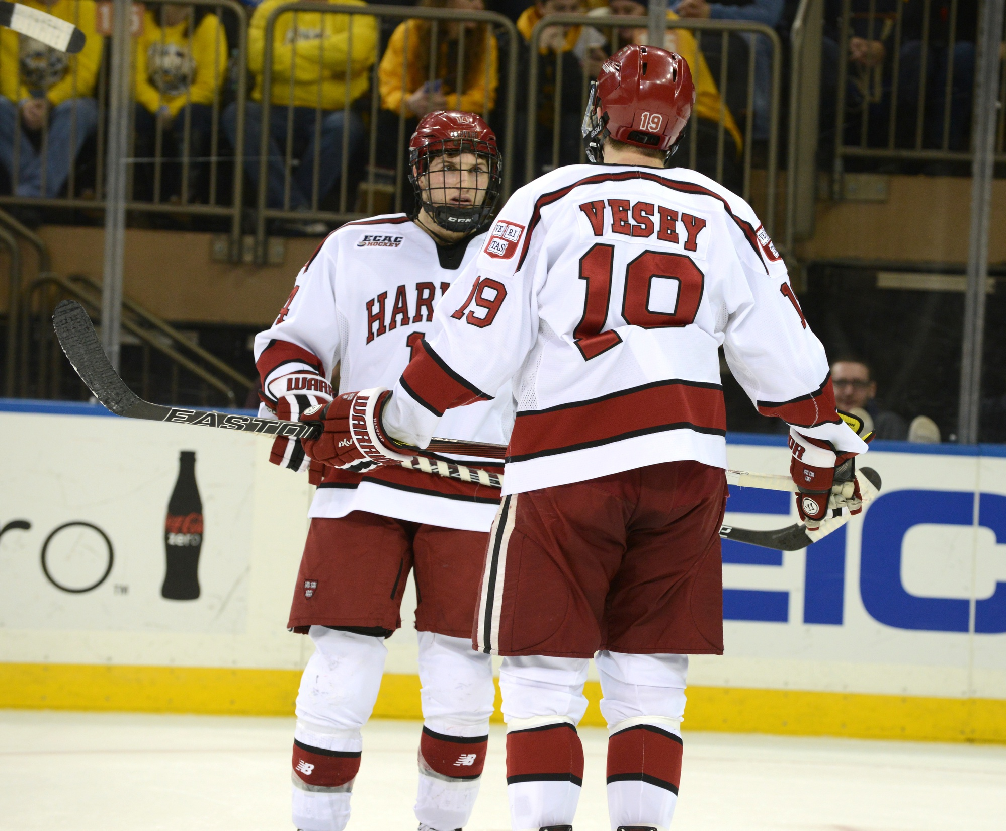 Alexander Kerfoot (left) and Devin Tringale will become Harvard's next two captains, filling the spots of Jimmy Vesey (right) and Kyle Criscuolo.