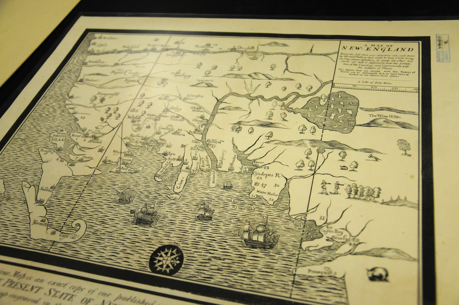 A 19th Century replica of an 18th Century promotional map of New England. It is housed in the Harvard Map Collection in the Pusey Library.