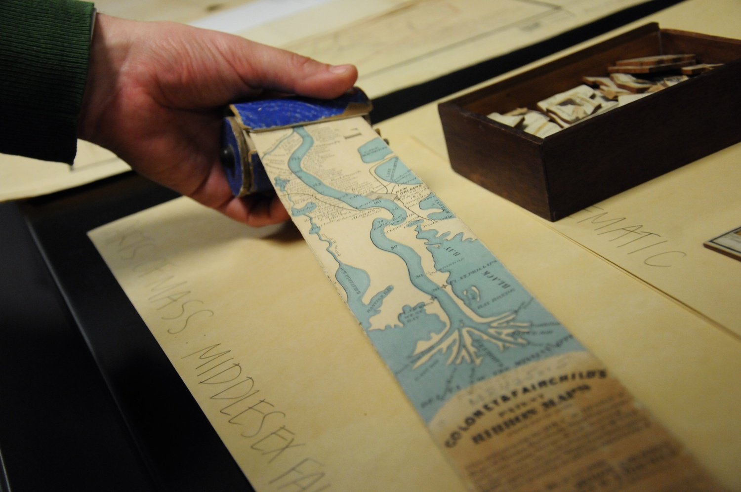 A ribbon map of the Mississippi River housed in the Harvard Map Collection in the Pusey Library.