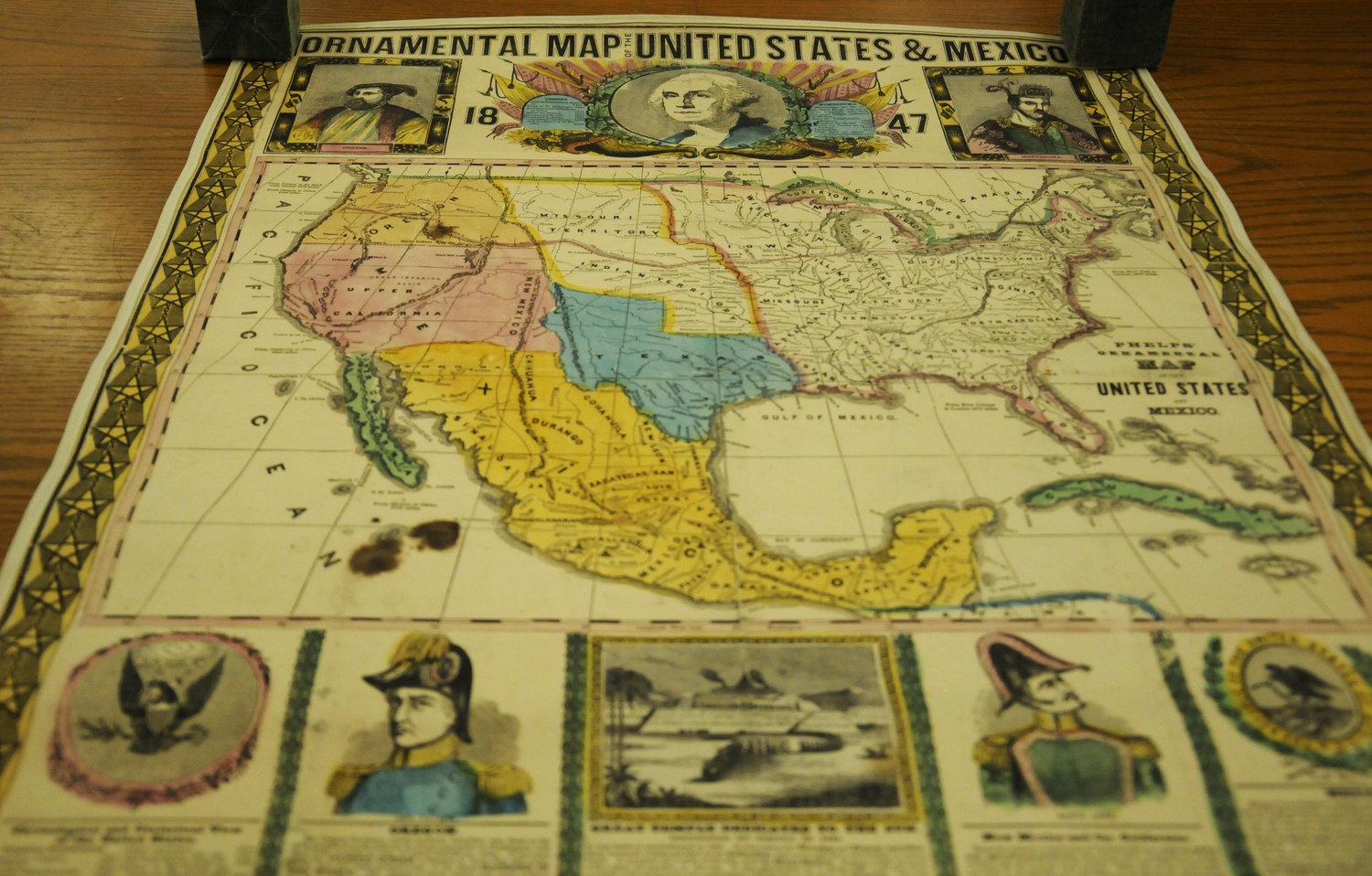 A map depicting the Mexican-American War, featuring important figures in the war, housed in the Harvard Map Collection in the Pusey Library.