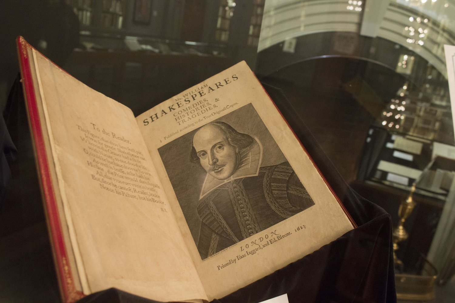 'Mr. William Shakespeares comedies, histories, & tragedies:published according to the true originall copies' sits on display in Houghton Library