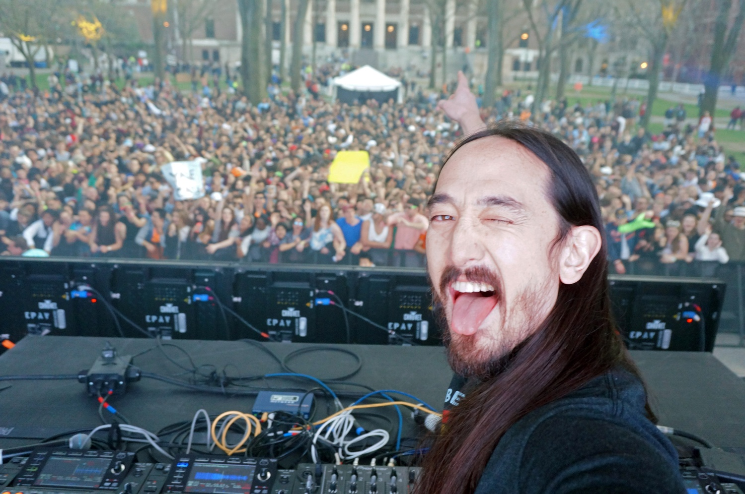 Steve Aoki grabbed Crimson photographer Ryosuke Takashima's camera to snap a quick selfie during Aoki's 2016 Yardfest performance.