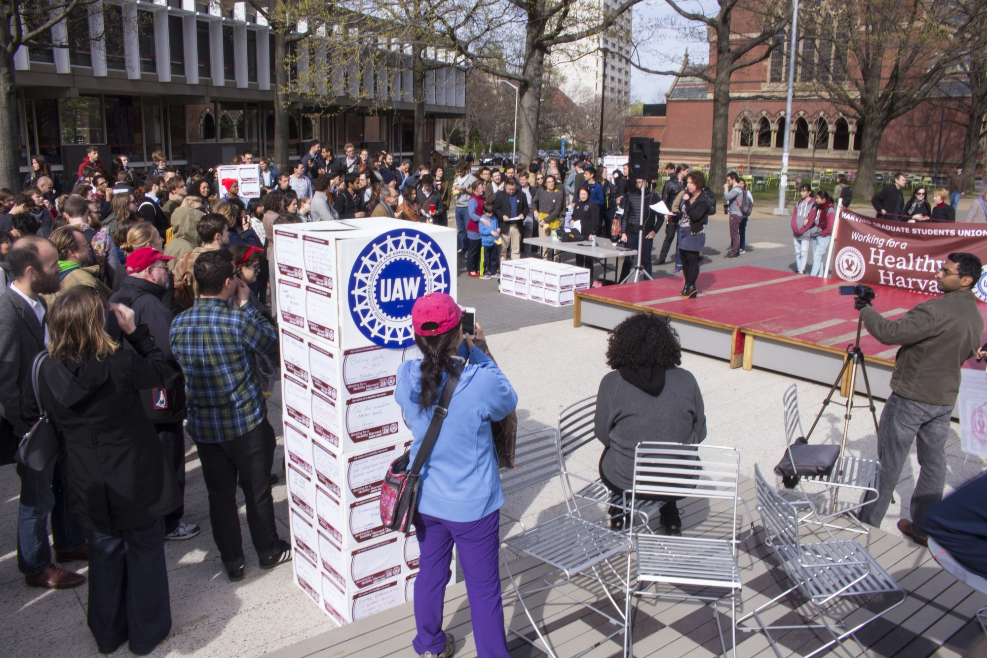 "Graduate student union supporters gather in the Science Center Plaza in April for a ""Union Block Party,"" hosted by Harvard Graduate Students Union-UAW."