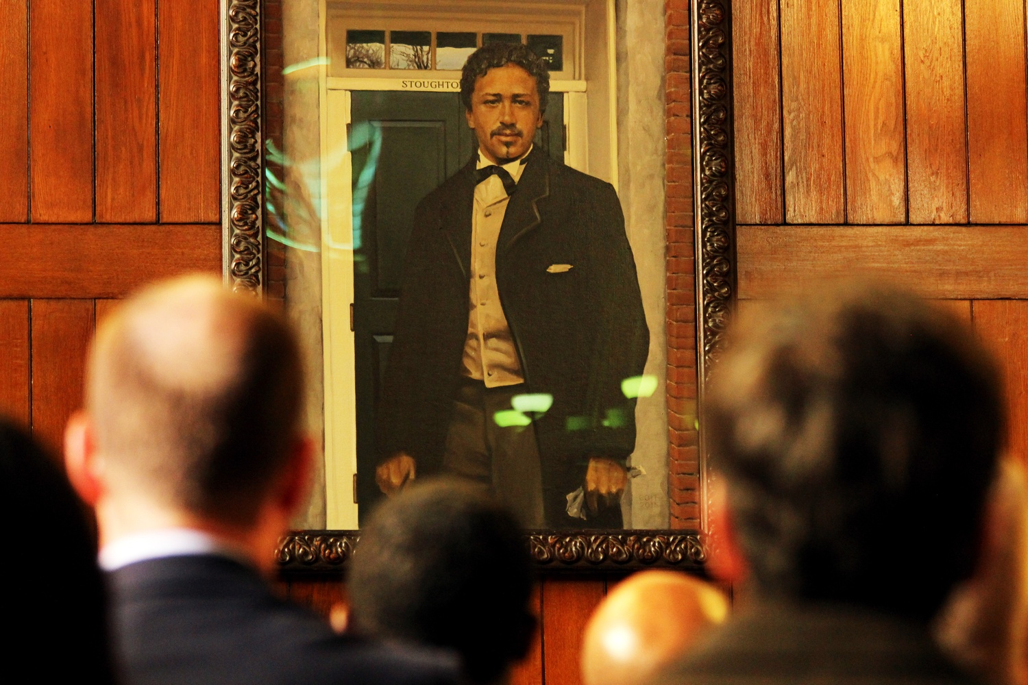 A new portrait of Richard T. Greener was unveiled at a ceremony in Annenberg Hall in 2016.
