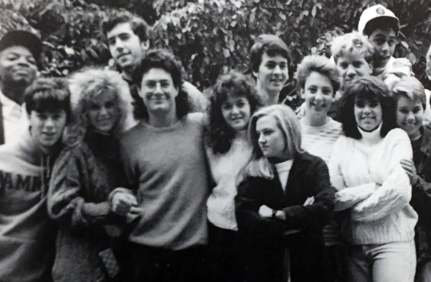Sheryl Sandberg '91, pictured in center, stands with her entryway mates of Canaday E during the 1987-1988 academic year.