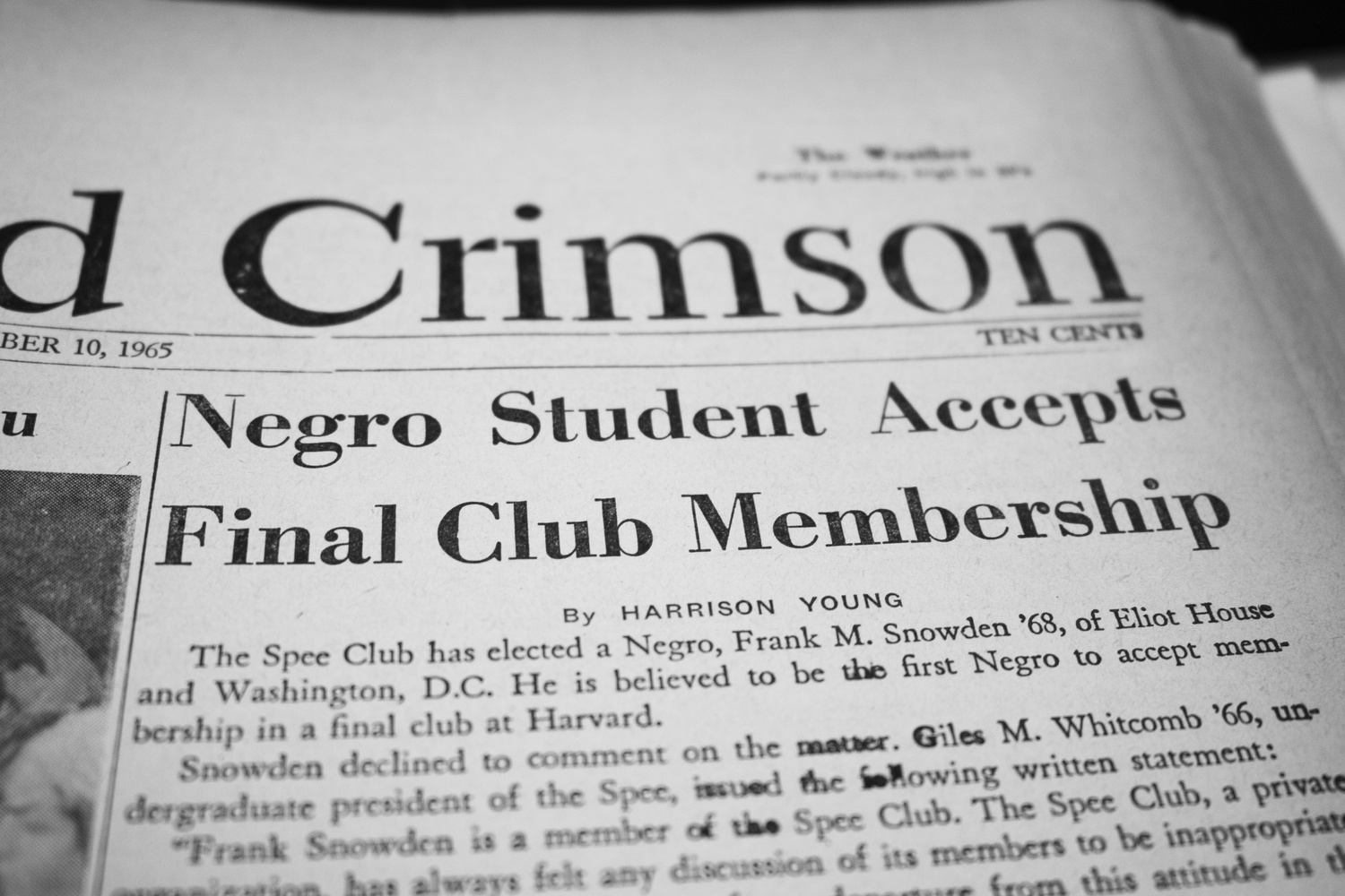 A headline from the December 10, 1965, issue when the Spee Club accepted its first black member.