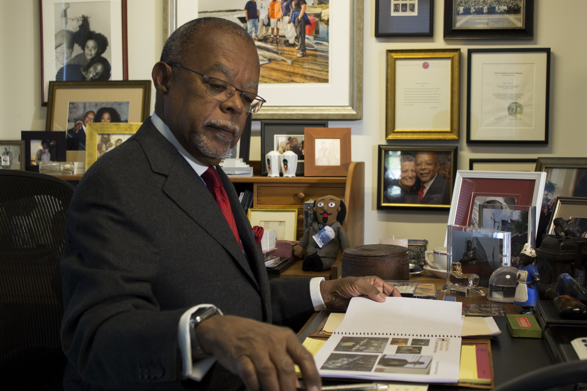 "A current portrait of Professor Henry L. ""Skip"" Gates in his office at the Hutchins Center for African & African American Research on Mount Auburn Street."