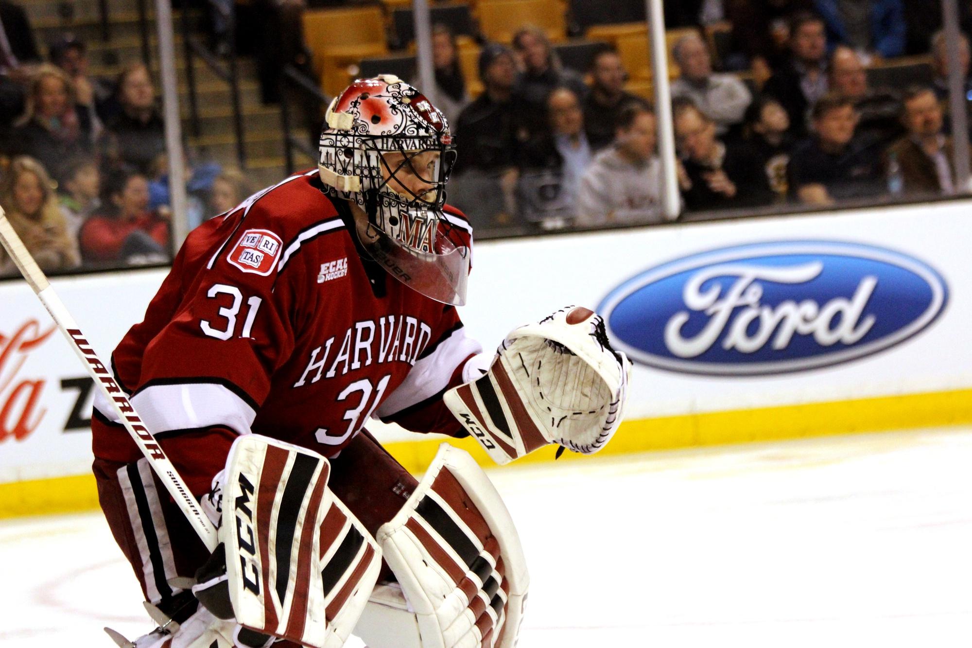 Sophomore goaltender Merrick Madsen earned the start in Harvard's final 11 games of the 2015-2016 season.