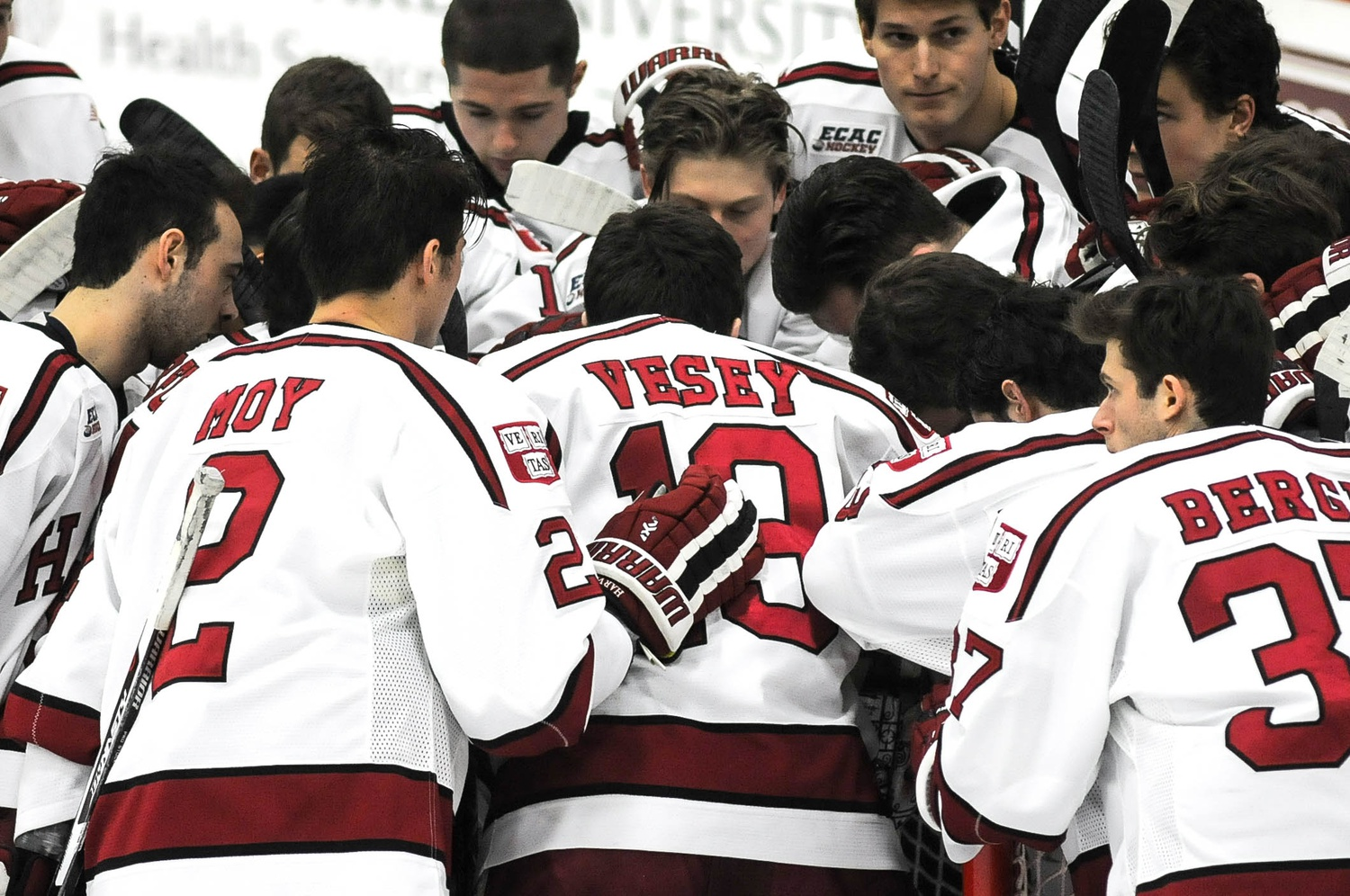Jan. 15: With the Crimson facing a 1-0 third-period deficit against St. Lawrence, Vesey, shown in later action, scored three times in less than five minutes to give the Crimson a win and the senior his first career hat trick.