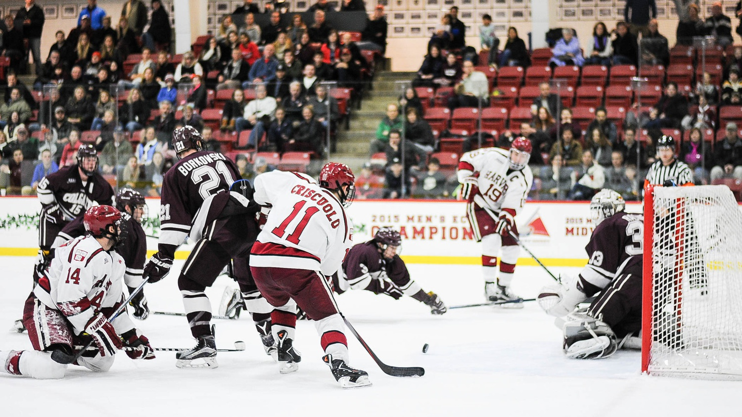 Feb. 20: With Harvard and Colgate even at four, Vesey set up Kyle Criscuolo for this game-winner with 2:47 left on Senior Night at the Bright Center.