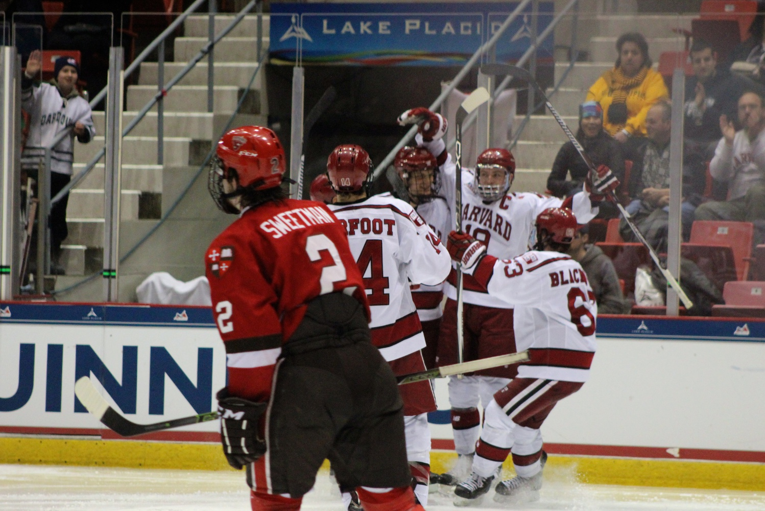 March 18: Vesey celebrates after opening the scoring in the ECAC Semifinals against St. Lawrence in Lake Placid. He also assisted on Kyle Criscuolo's overtime winner.