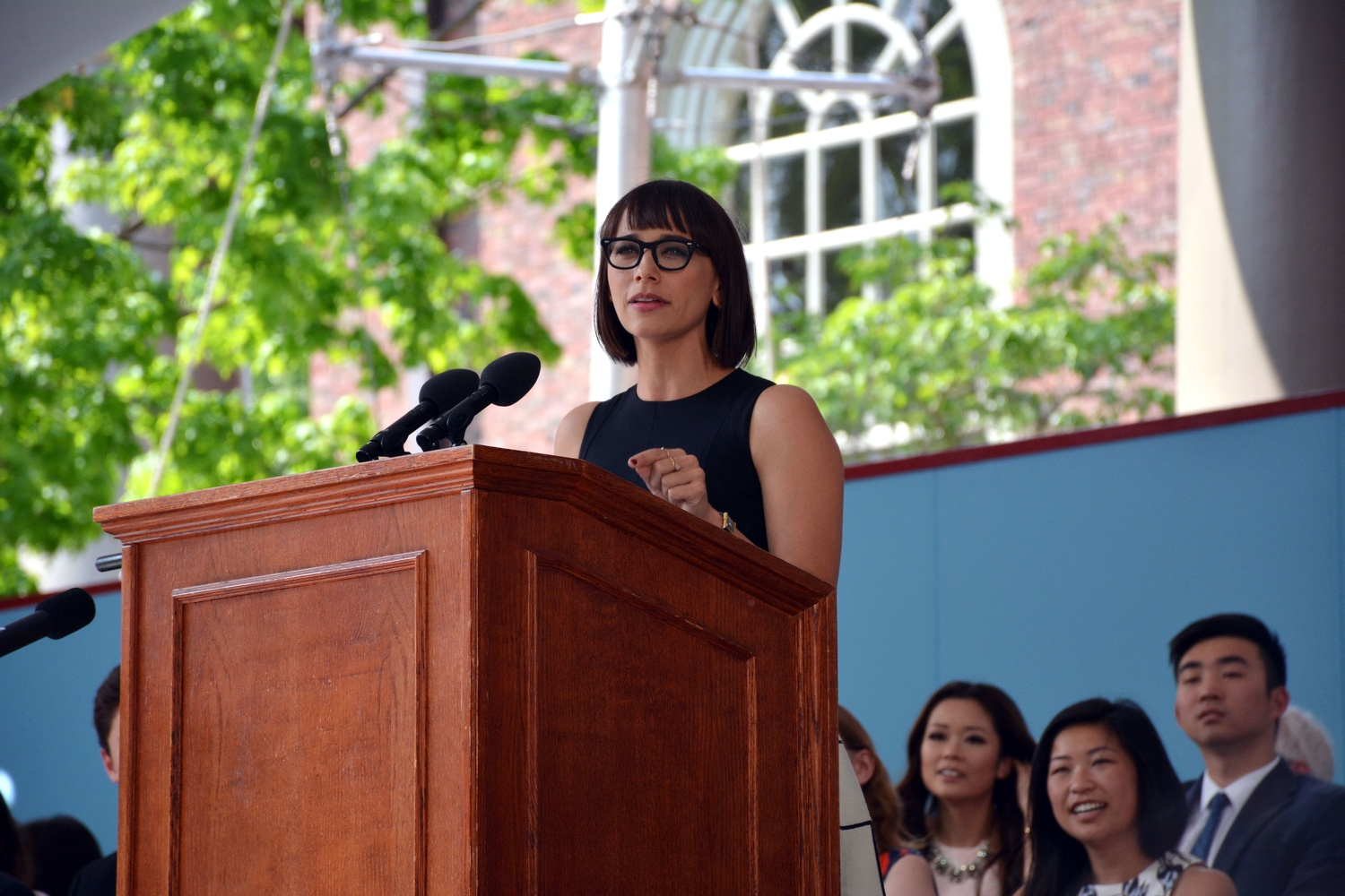 Rashida L. Jones '97 addresses the Class of 2016 at the College Class Day.  Referencing a Crimson article in which she was quoted in 1995, she advised the Class of 2016 to pull the lever on the Froyo machine of life.