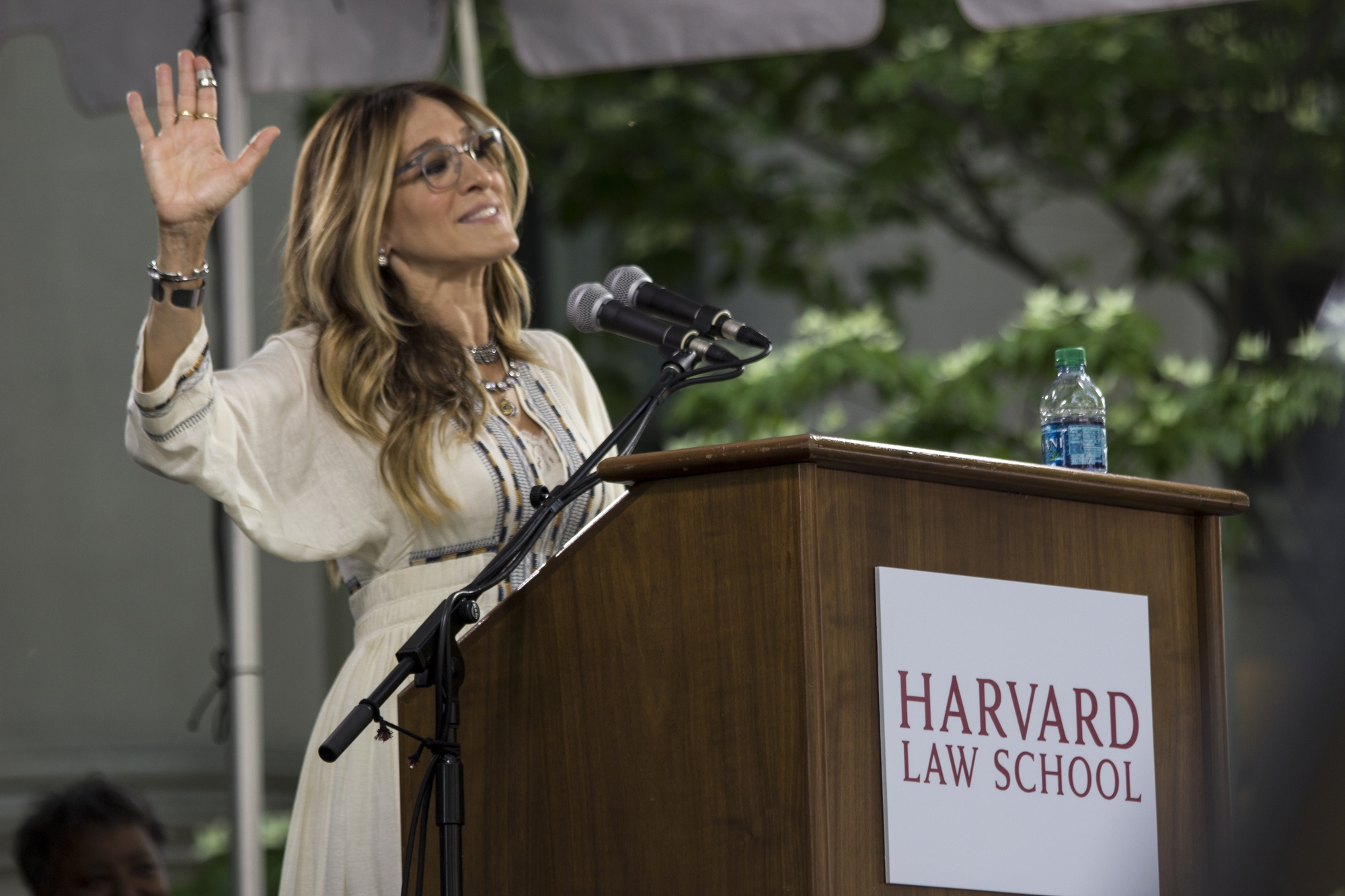Actress Sarah Jessica Parker speaks at the Harvard Law School Class Day ceremony Wednesday afternoon.