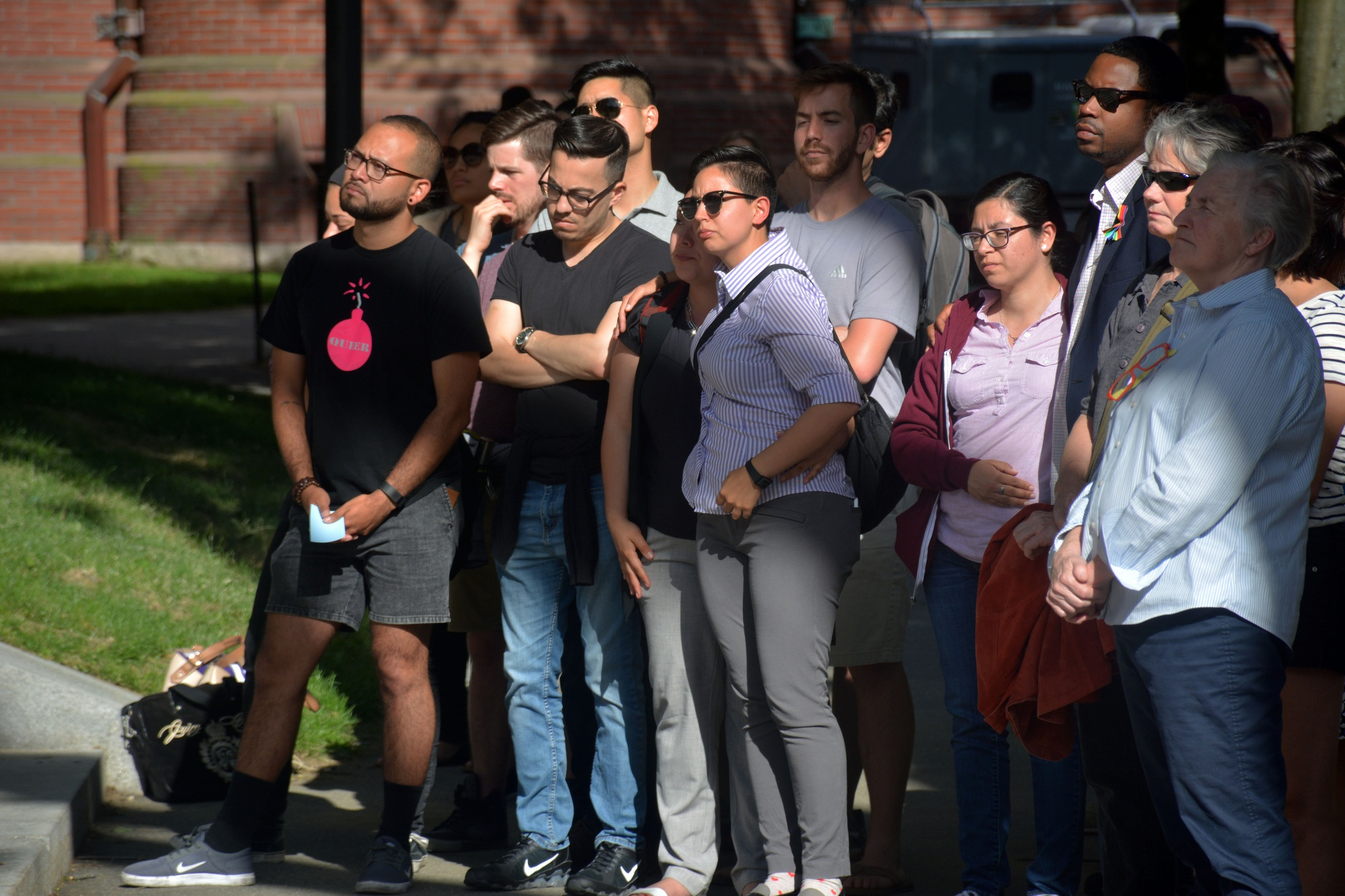 More than 200 Harvard affiliates gathered at the steps of Memorial Church on Tuesday to remember the victims of the Pulse Nightclub shooting in Orlando.