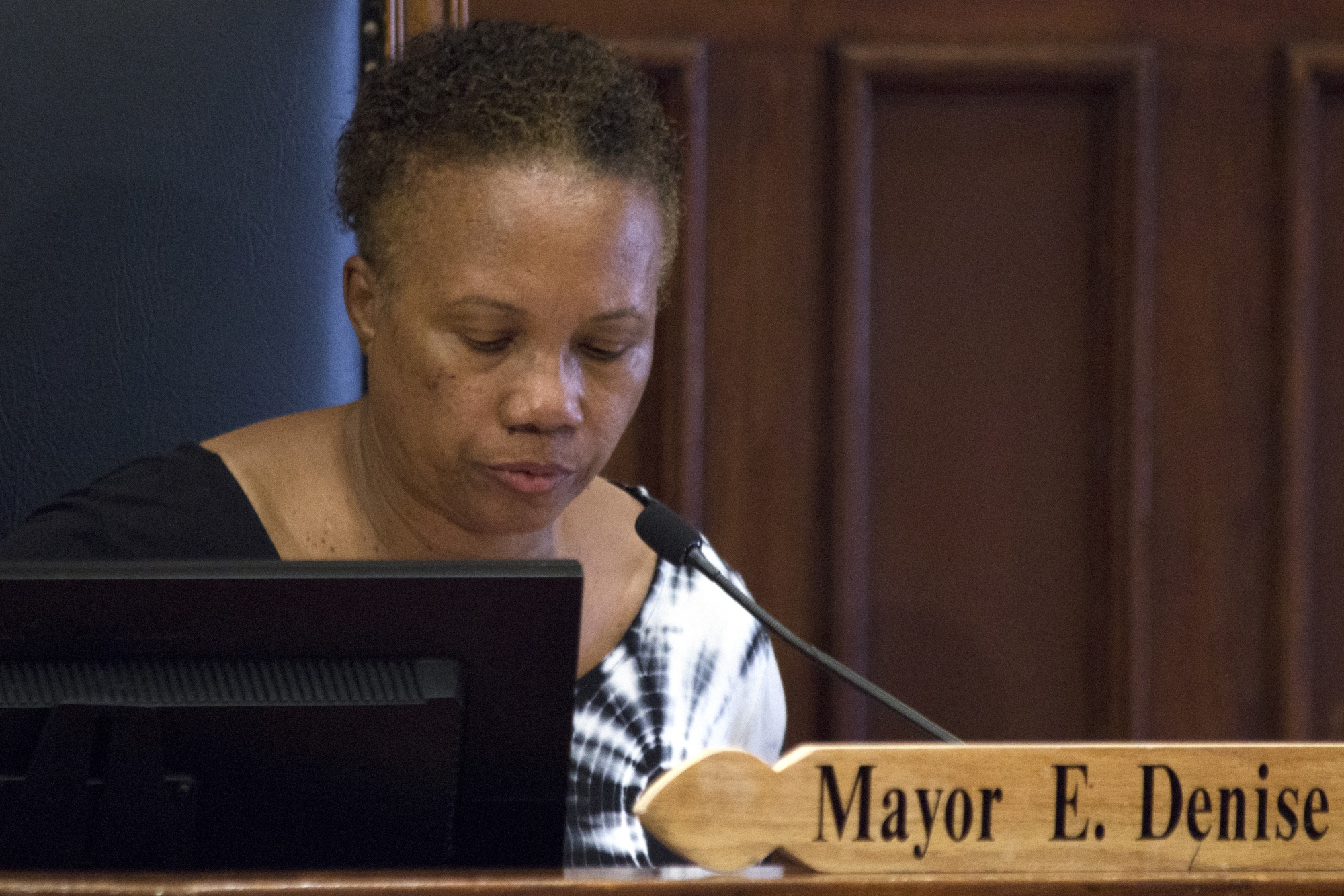 Cambridge Mayor E. Denise Simmons moderates Monday's city council meeting at City Hall. The Cambridge City Council became the first in the Commonwealth of Massachusetts to pass a resolution supporting medical aid in dying.