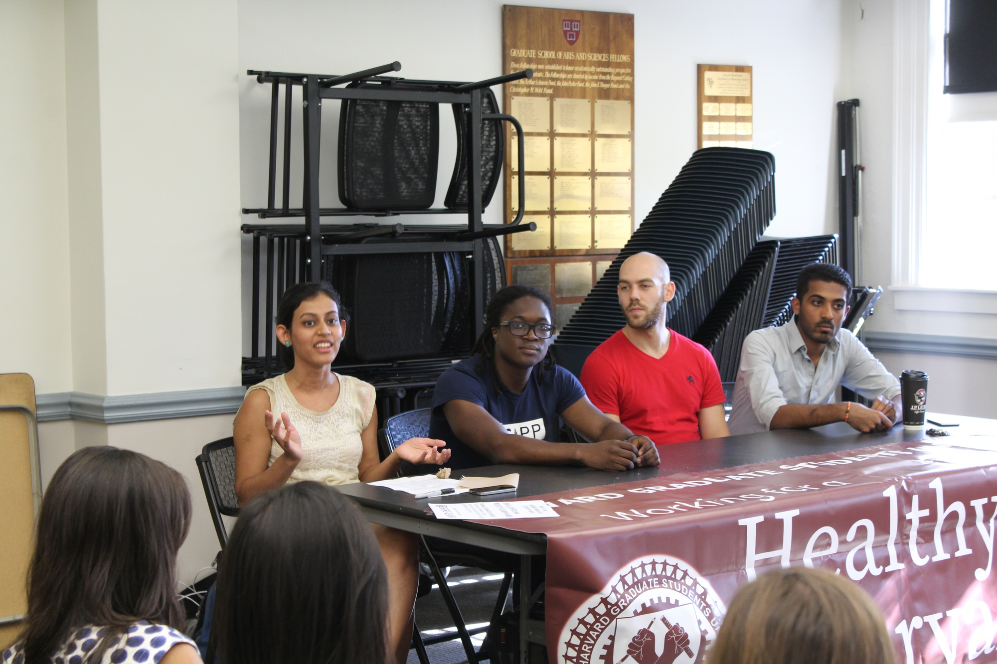 At an info session about Harvard's graduate student unionization effort, Niharika N. Singh explains the benefits of having a union of graduate student workers.