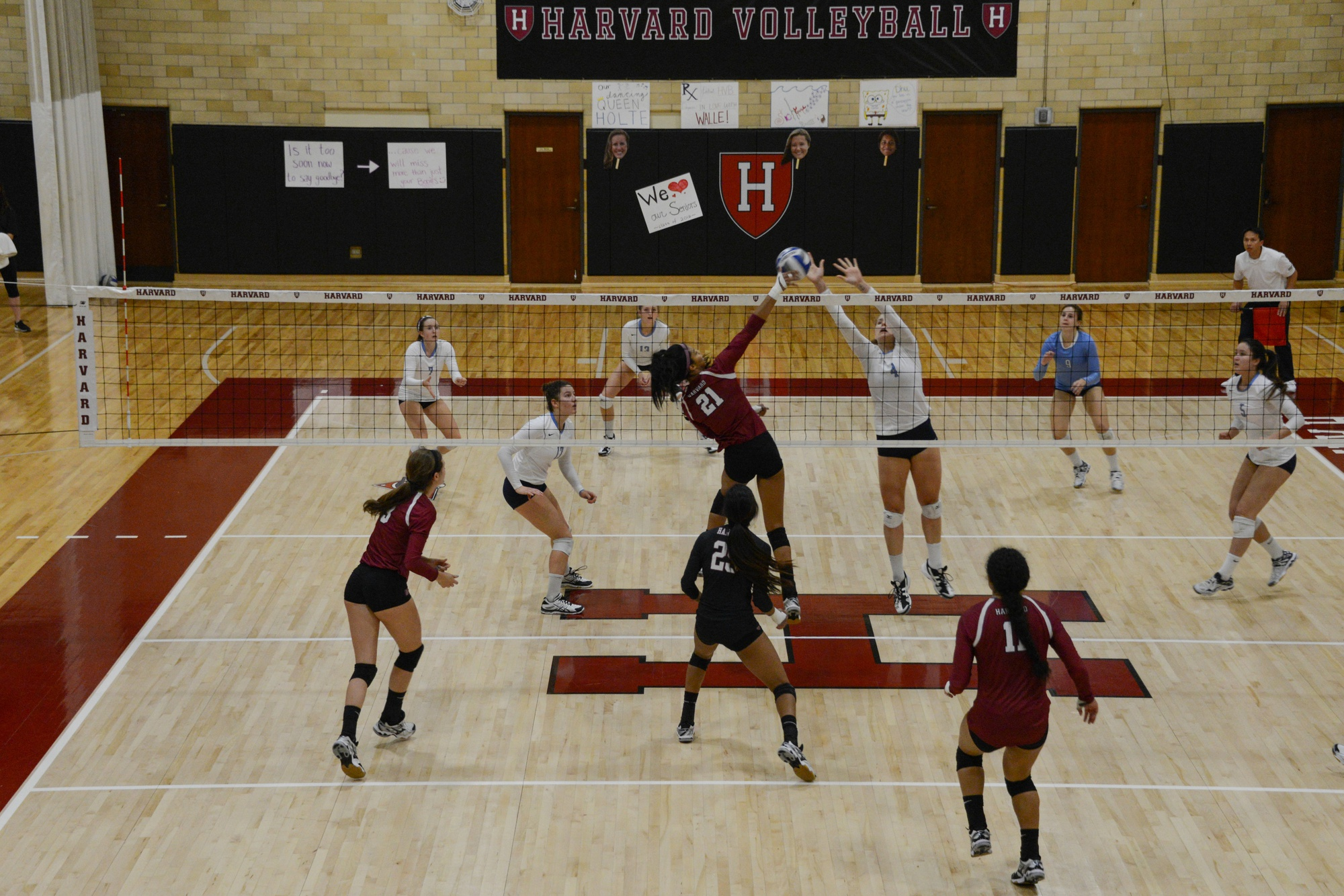 Sophomore Christina Cornelius spikes a ball during the Crimson's 3-0 victory against Columbia on November 7, 2015. Without its four graduated seniors, the team will rely on all of its returning and new members, and especially Cornelius and co-captain Corie Bain to lead the team's attack as it looks to snap its losing streak.