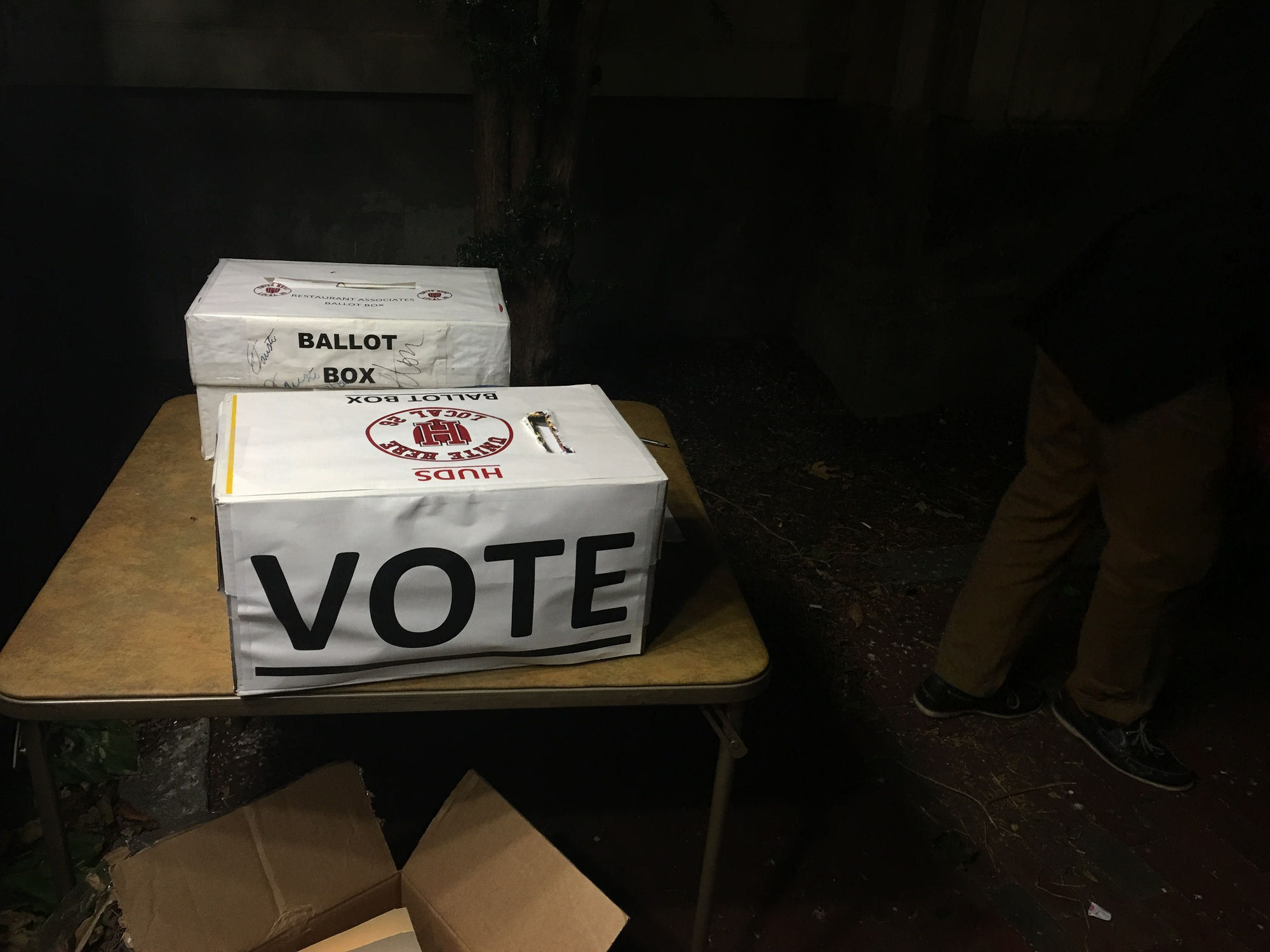 A ballot box at the HUDS Strike Vote on Thursday.  Voting was carried out throughout the day, beginning in the morning and continuing until 11pm.