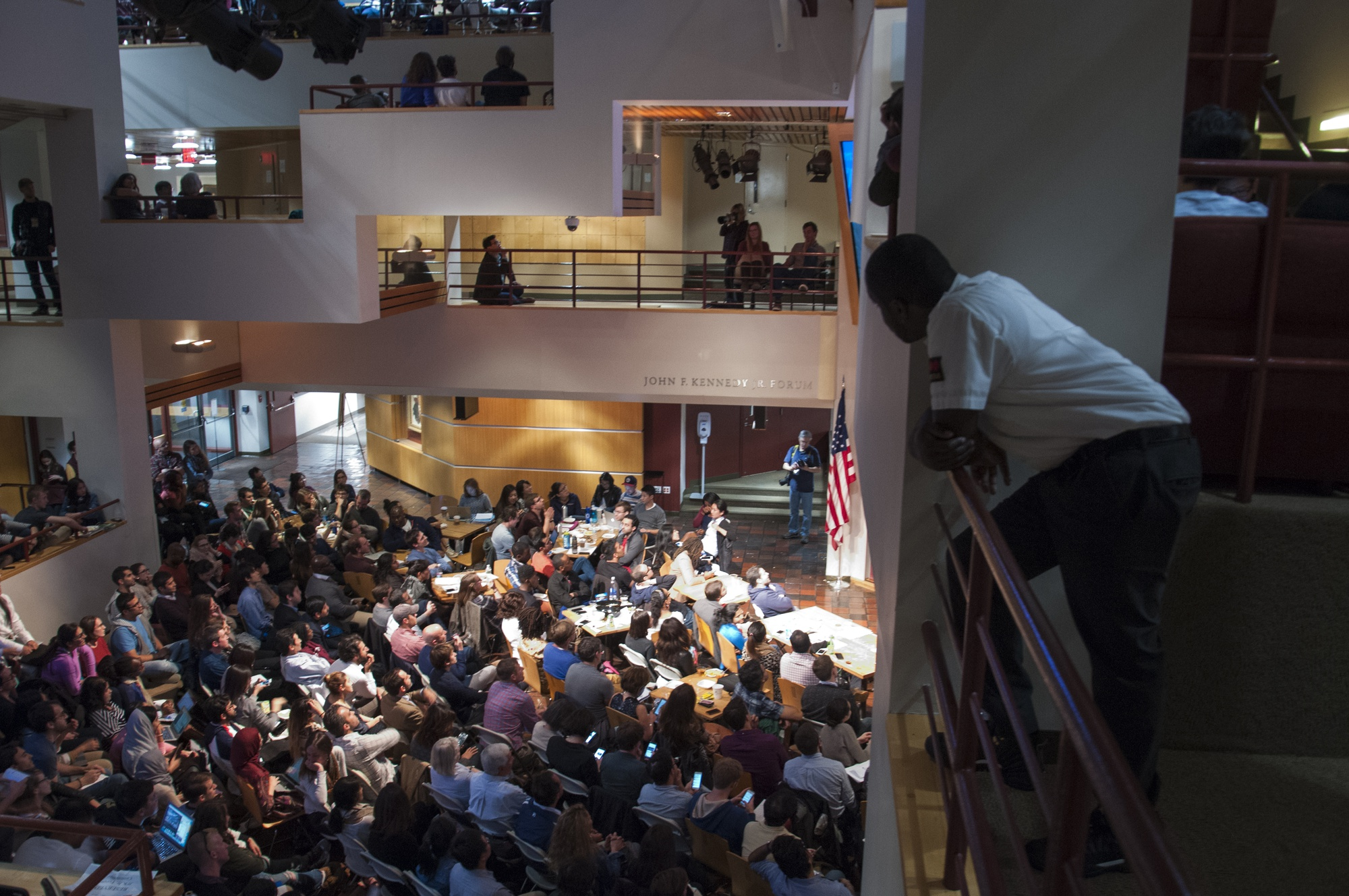 The sights inside Harvard's Institute of Politics during the first presidential debate of the 2016 general election.