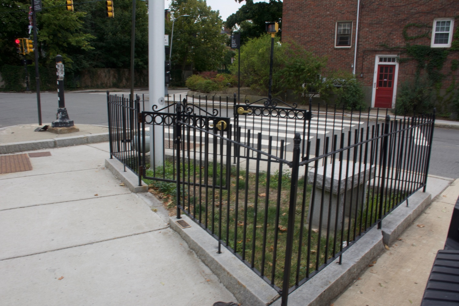 Taylor Square, the smallest park in Cambridge MA at just 57 square feet, is located in front of Engine 8 Fire Station.