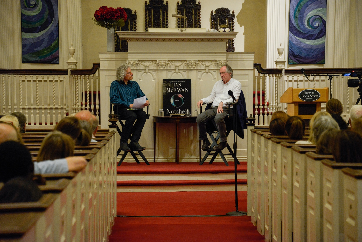 Inside the First Parish Church of Cambridge, Ian McEwan, author of Atonement and Nutshell, discusses his newest release with Harvard Professor Steven Pinker.