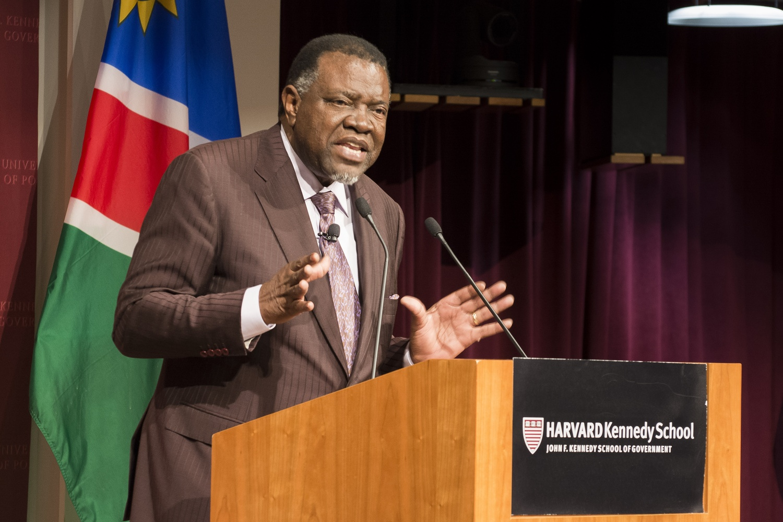 Namibian President Hage G. Geingob outlines his vision for the future of Namibia. Geingob spoke at the John F. Kennedy, Jr. Forum Wednesday evening.