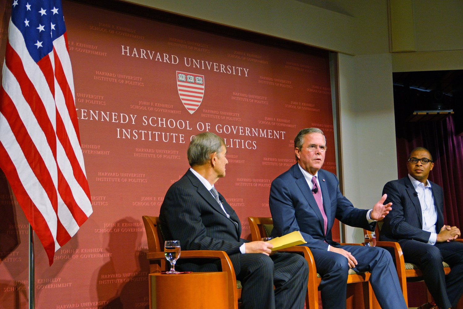 Former presidential nominee and governor of Florida Jeb Bush discusses education with Economics professor Roland G. Fryer and Government professor Paul E. Peterson at the John F. Kennedy, Jr. Forum.