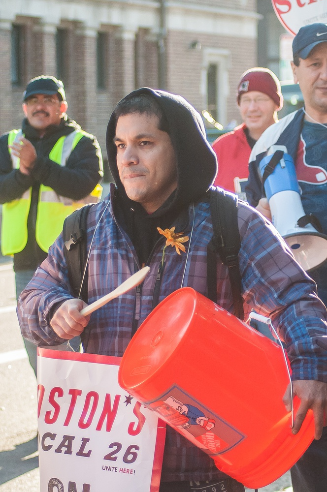 Some HUDS workers amplified their chants in Harvard Square with homemade drums, using wooden stirring spoons and buckets.