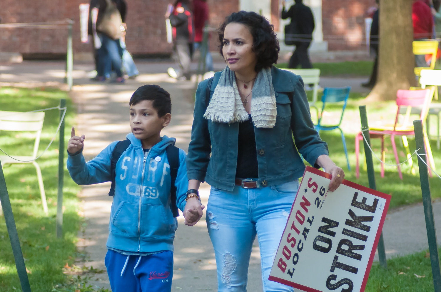 Supporters of all ages gathered in the Science Center Plaza on Wednesday at 9 a.m., three hours after the HUDS strike began, for a kickoff before marching through Harvard Yard in protest.