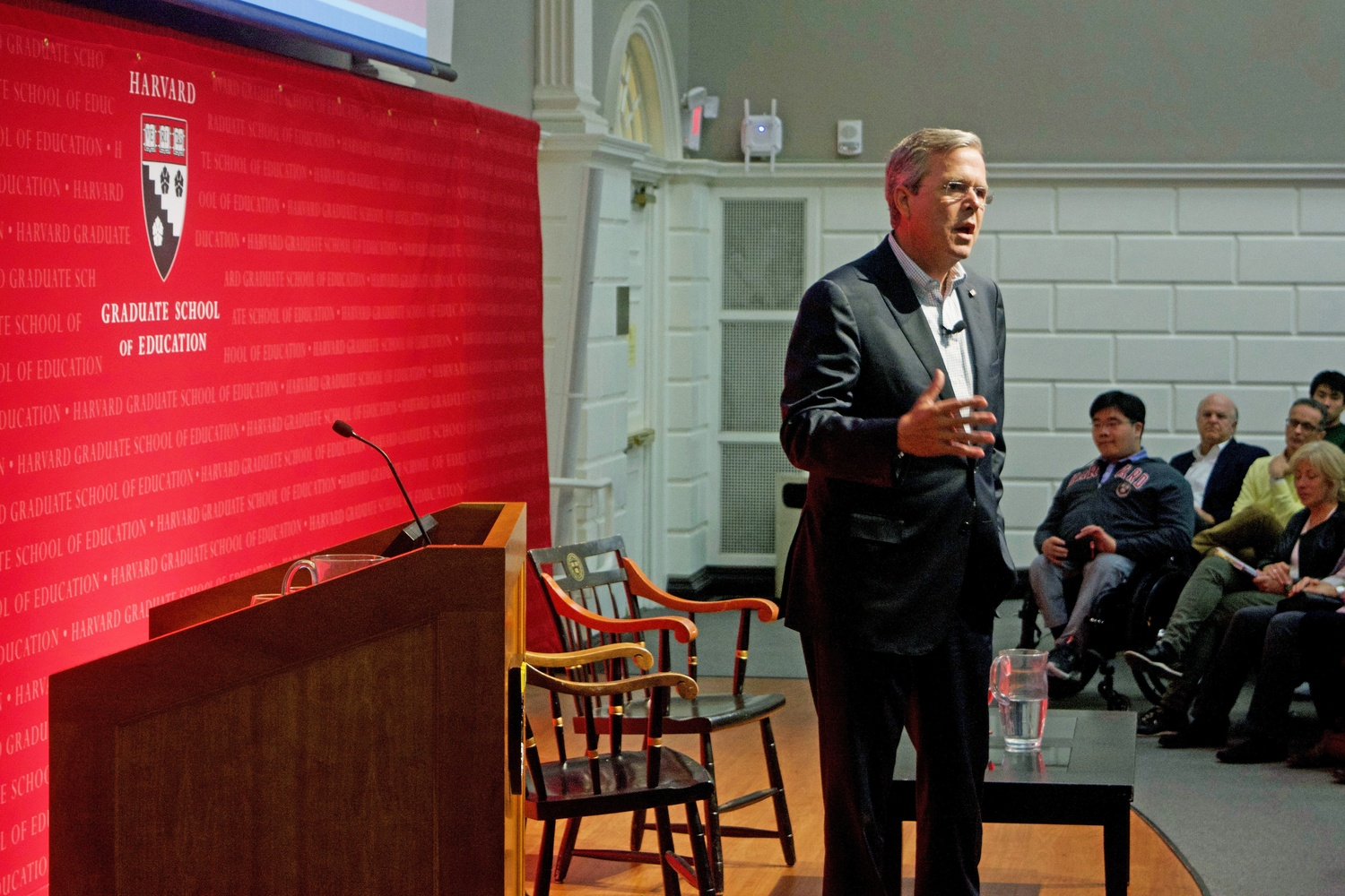 Jeb Bush shares his thoughts on education reform during an Askwith Forum at the Harvard Graduate School of Education.