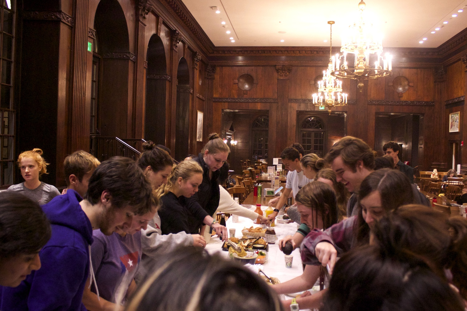 Students partake in a study break hosted by the Dunster faculty deans which featured make-your-own-guacamole, croissants, and more. As the strike continues, many Houses are hosting such events to supplement their students' diets.