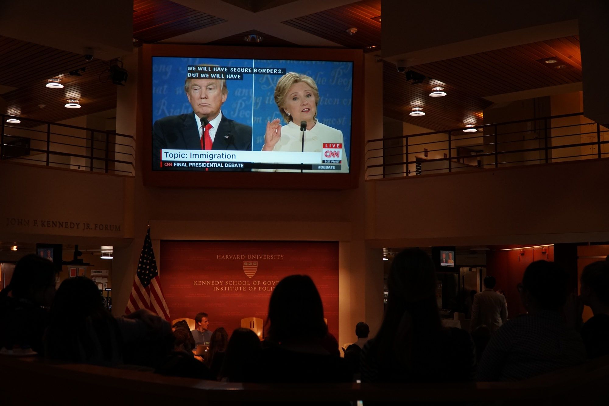 Several gather to watch the presidential debate at the IOP.