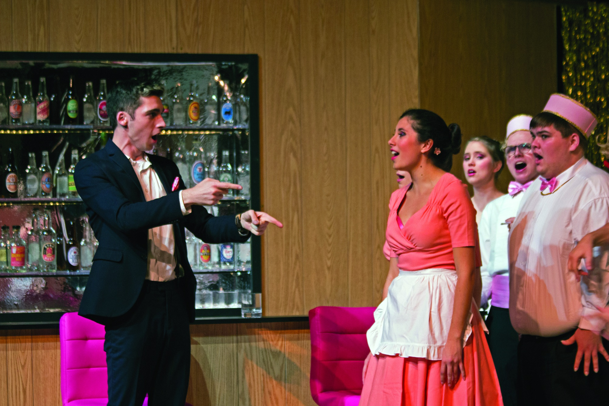 """Benjamin D. Grimm '18 and Isabella Kopits '20 perform in a rehearsal of the Harvard-Radcliffe Gilbert and Sullivan Players' upcoming production of """"The Mikado"""" on Thursday night."""