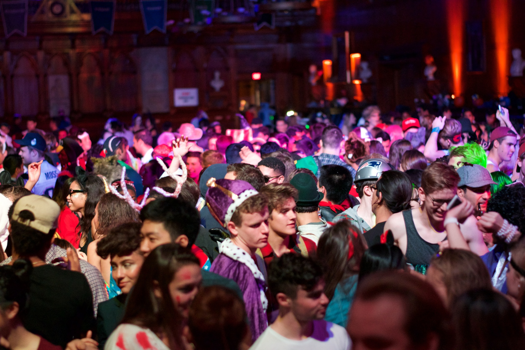 Students gather in Memorial Hall Saturday night for Haunted Hall 2, the second annual Halloween celebration hosted by the College Events Board, the First-Year Social Committee, and Cambridge Queen's Head.