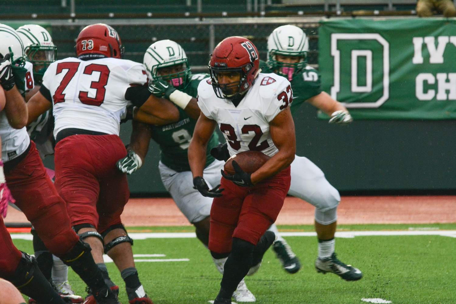 Junior running back Semar Smith, shown here in Harvard's 23-21 win over Dartmouth, leads all Harvard backs with seven touchdowns. He had 44 yards and a touchdown on 12 carries on Saturday.