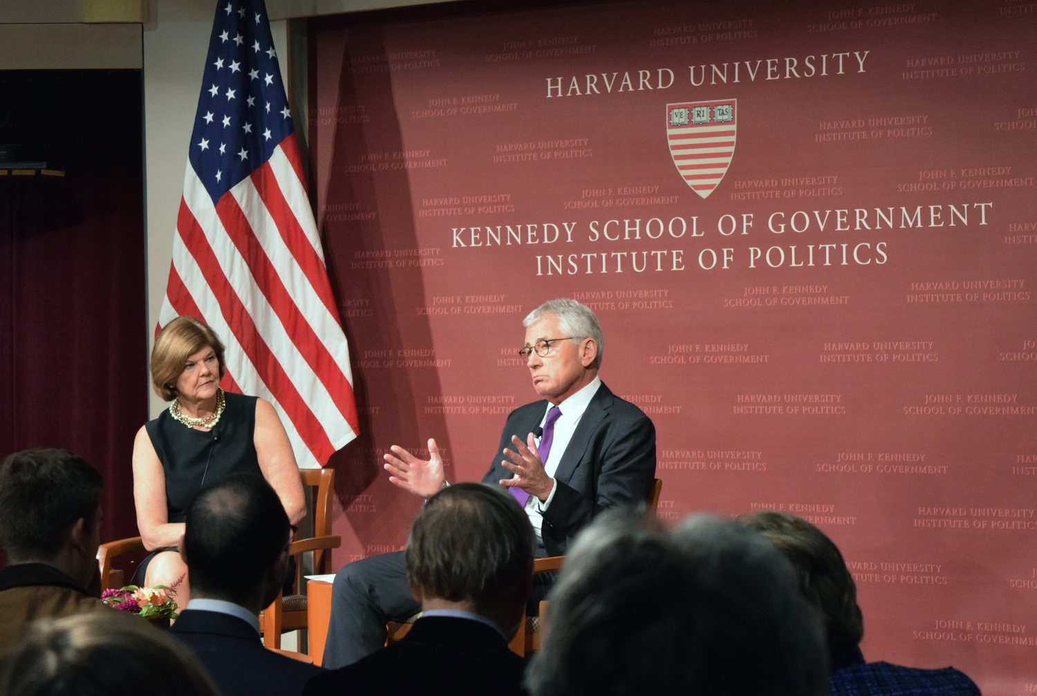 Charles T. Hagel, former US Secretary of Defense, answers questions about his nomination process at the IOP on Tuesday night. Hagel is a visiting fellow at the Institute of Politics.
