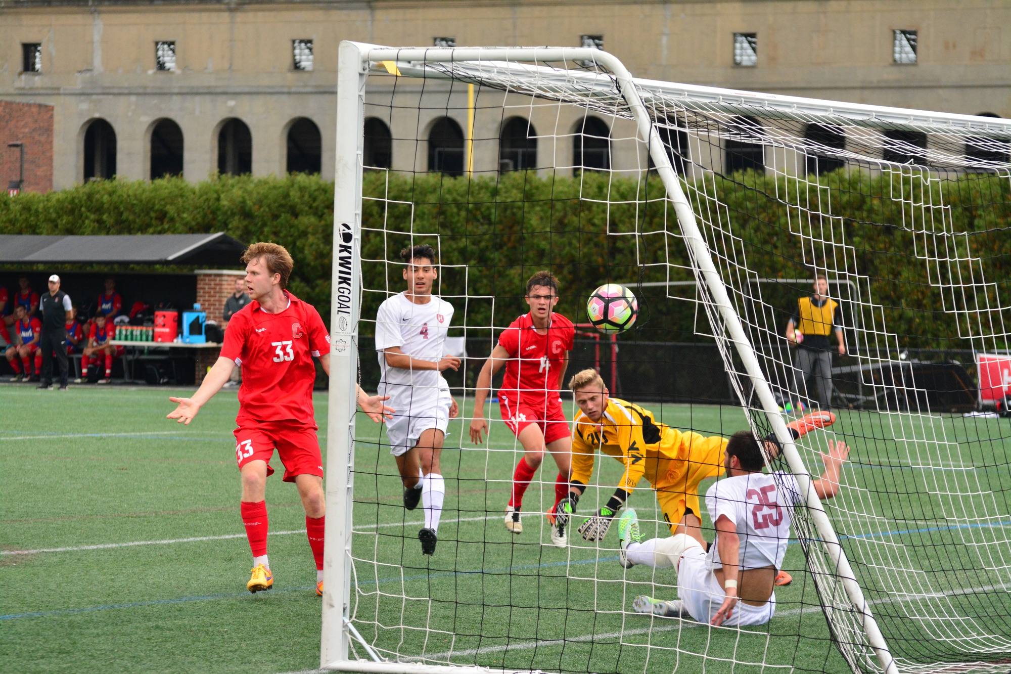 Harvard men's soccer in action against Cornell earlier this season. The team was recently sanctioned by the NSCAA, revoking all awards eligibility.