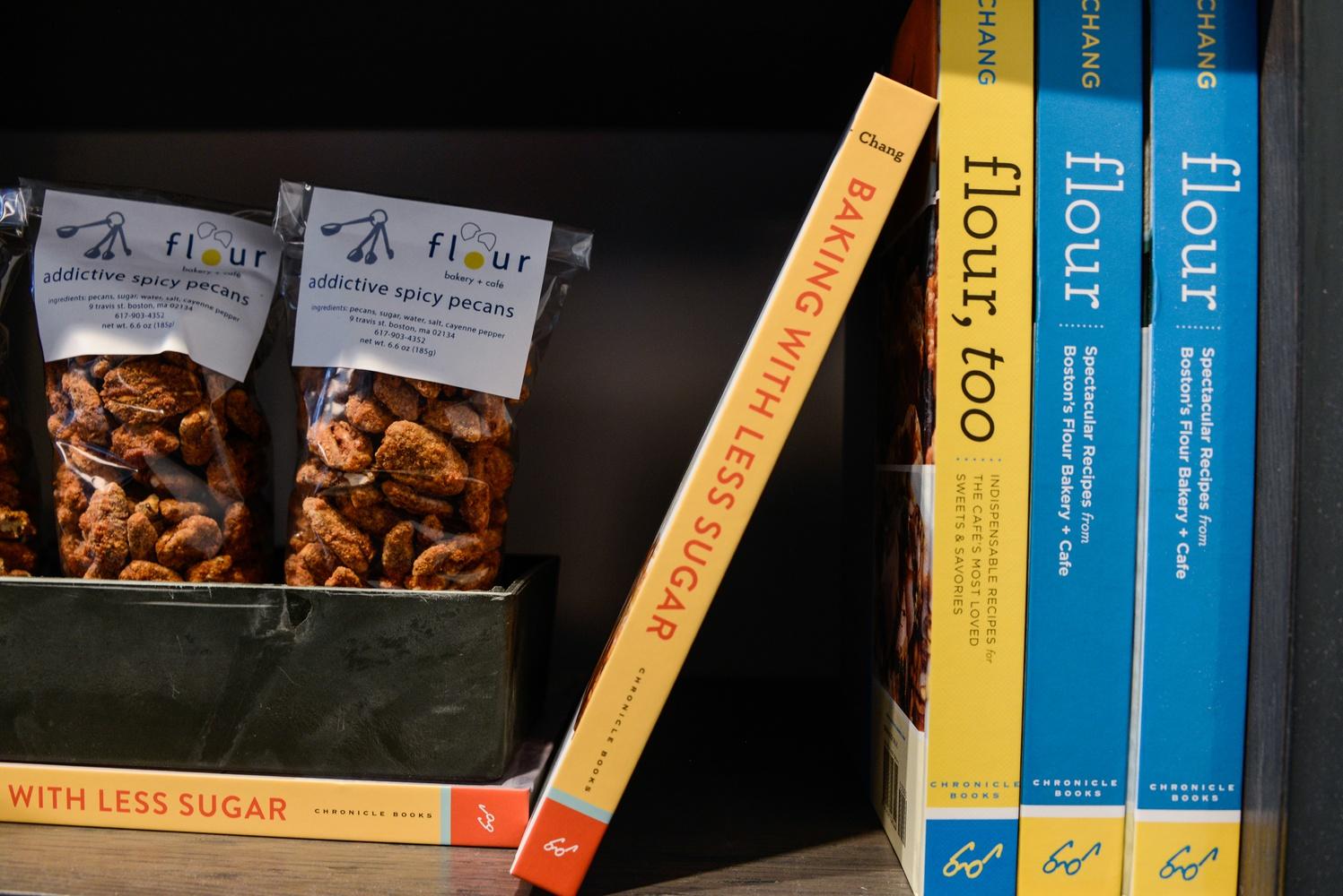 A shelf inside Flour holds Joanne's books.