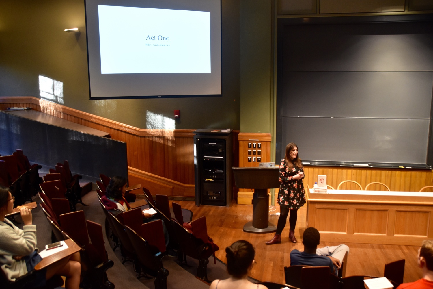 """Rachel Hills, author of """"The Sex Myth,"""" speaks during a talk titled """"Busting Sexual Stereotypes"""" on Friday in Sever Hall. The event was held as part of the annual Harvard Sex Week."""