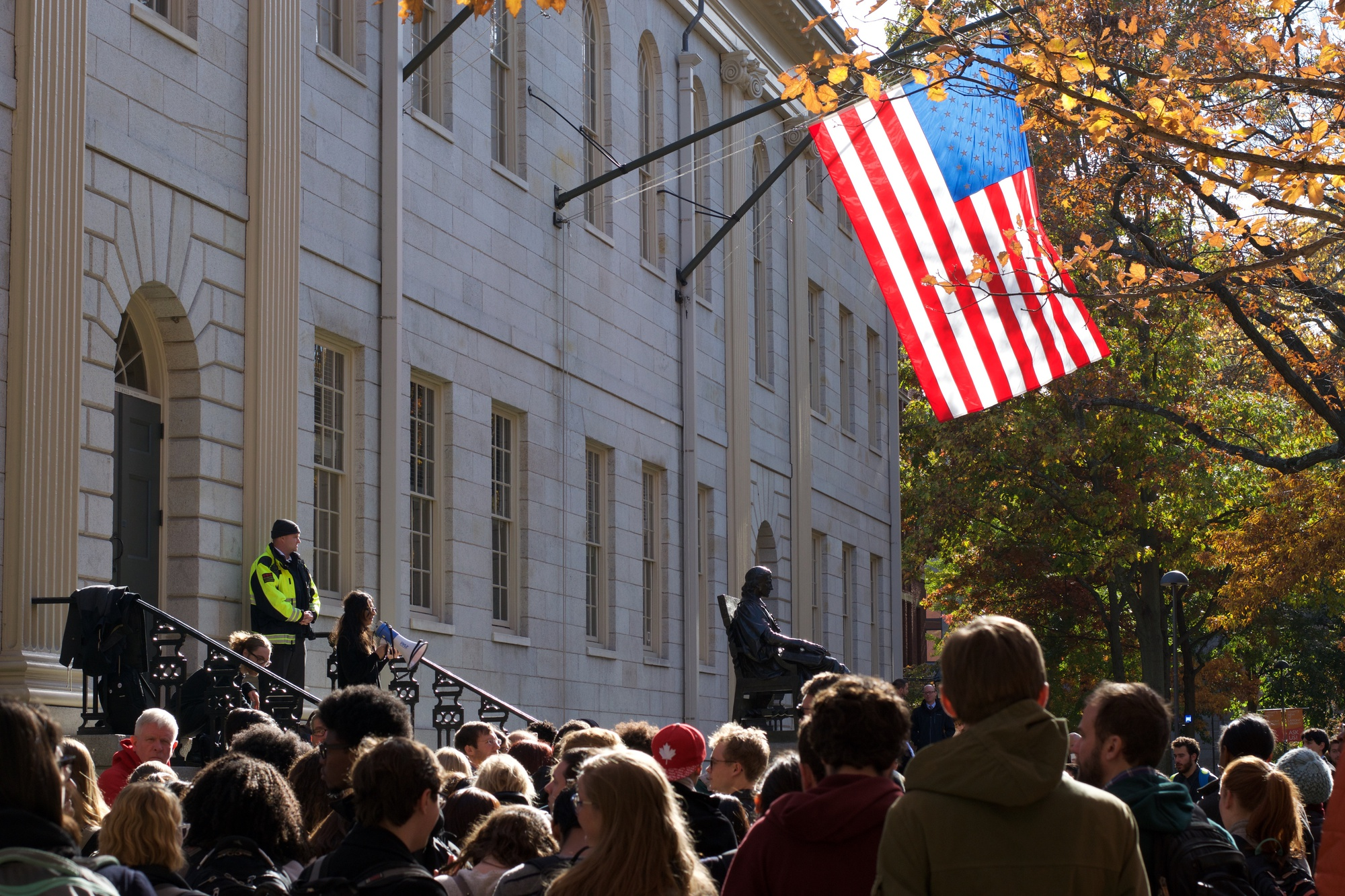 "Students gather at the ""Harvard Against Hate"" rally Thursday afternoon, which was organized by activist group Reclaim Harvard Law in response to Donald Trump's election win."