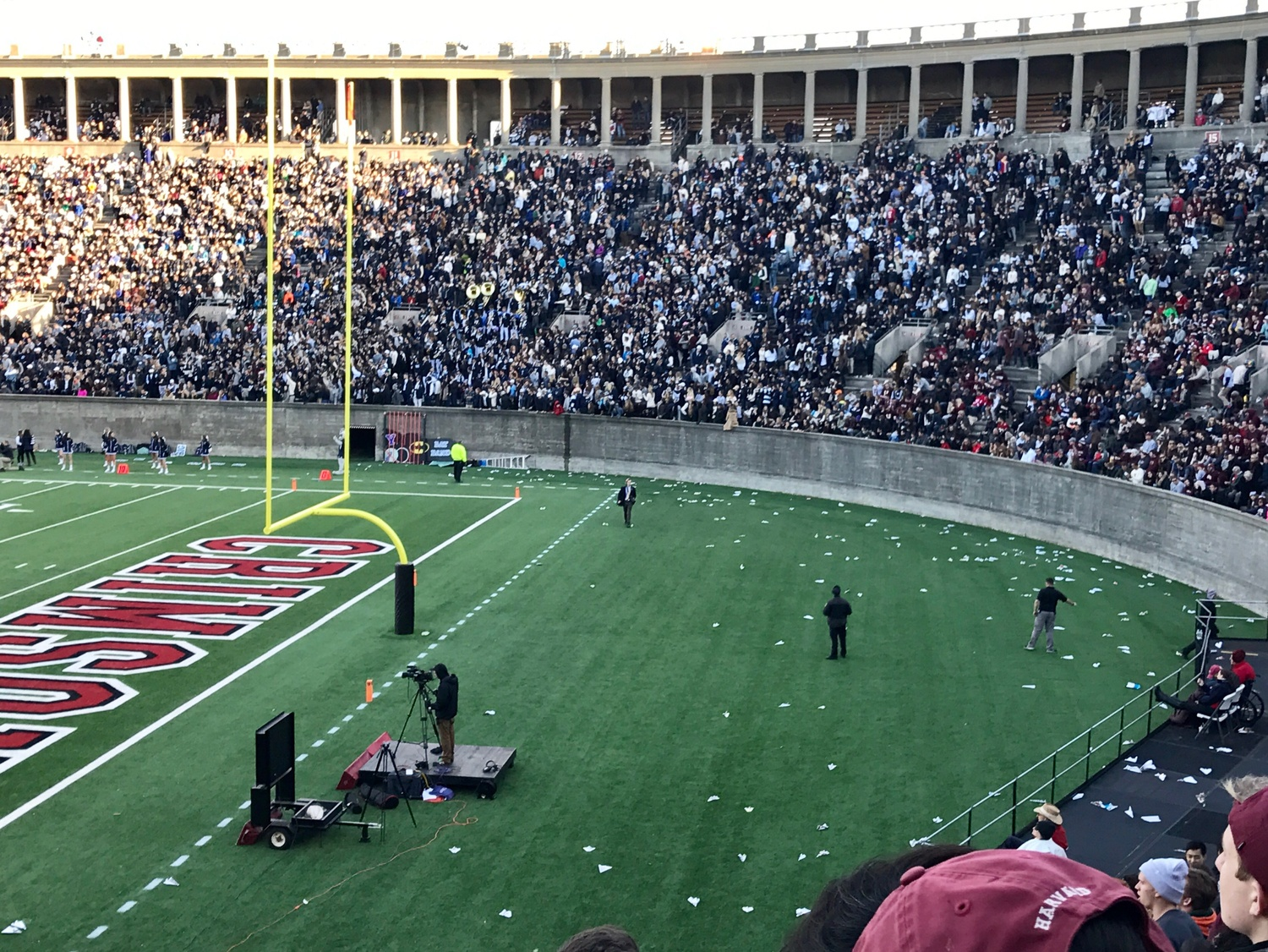 Paper planes littered the field during the Harvard-Yale game Saturday
