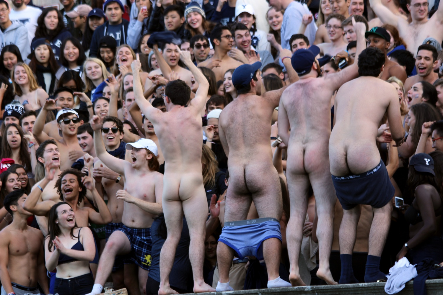 Ditching the majority of (if not all) clothing, dozens of Yale students drew attention for an unusual method of supporting their team. Following response by the Harvard University Police Department, the Bulldogs quickly put their clothes back on.
