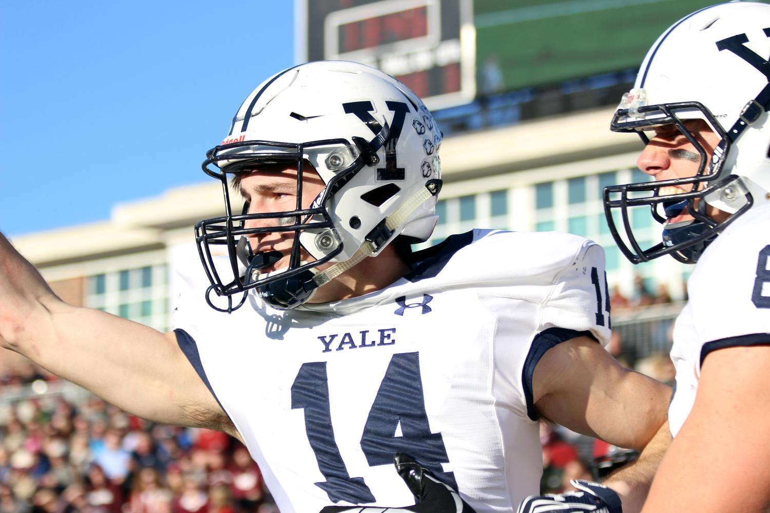 Yale wide receiver and freshman Reed Klubnik celebrates one of two successful touchdown catches Saturday afternoon.