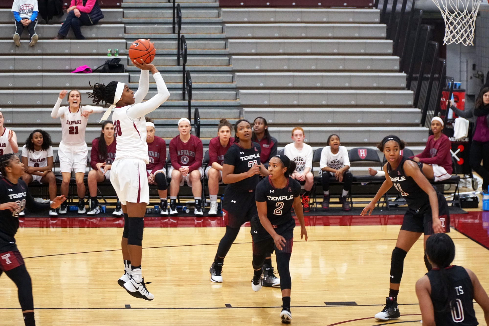 Co-captain Destiny Nunley rises for a shot inside the paint. The senior provides a strong inside presence for Harvard.