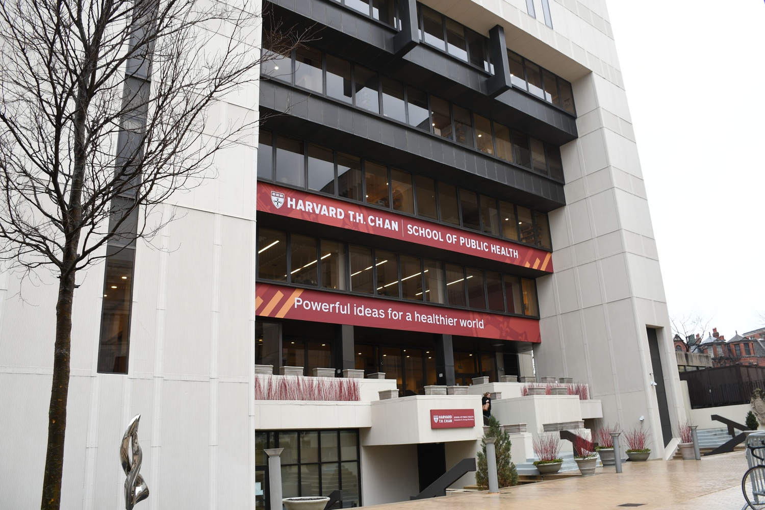 The Kresge Building at the Harvard T.H. Chan School of Public Health is a short distance from the site of Tuesday's reported shooting near 90 Smith Street.