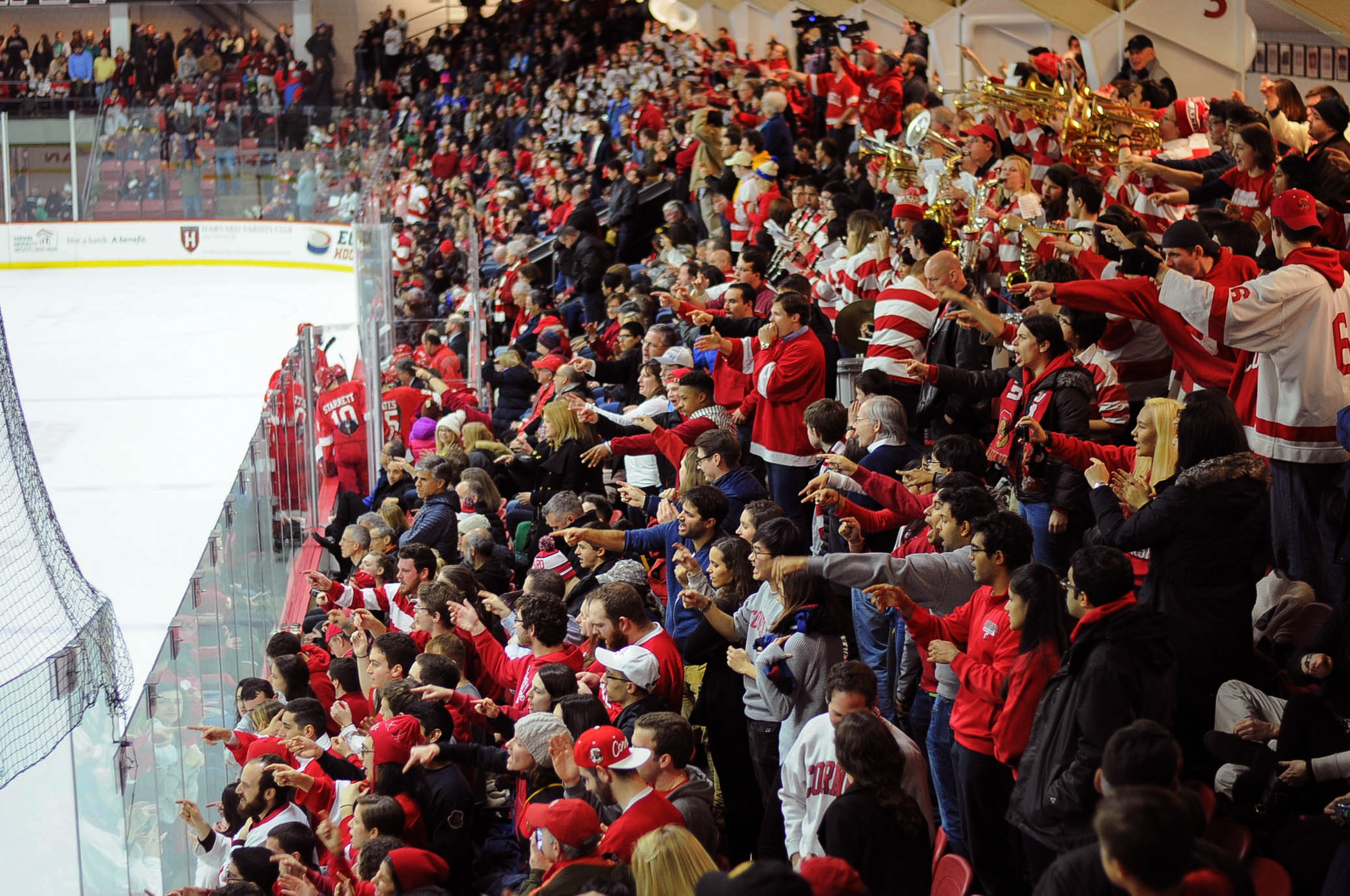 """Cornell fans often refer to the Bright-Landry Hockey Center as """"Lynah East"""" because of their tendency to pack Harvard's house with more fans than the Crimson can, as shown here a year ago. But Friday night at the real Lynah Rink in Ithaca, there'll be a complete sea of red."""