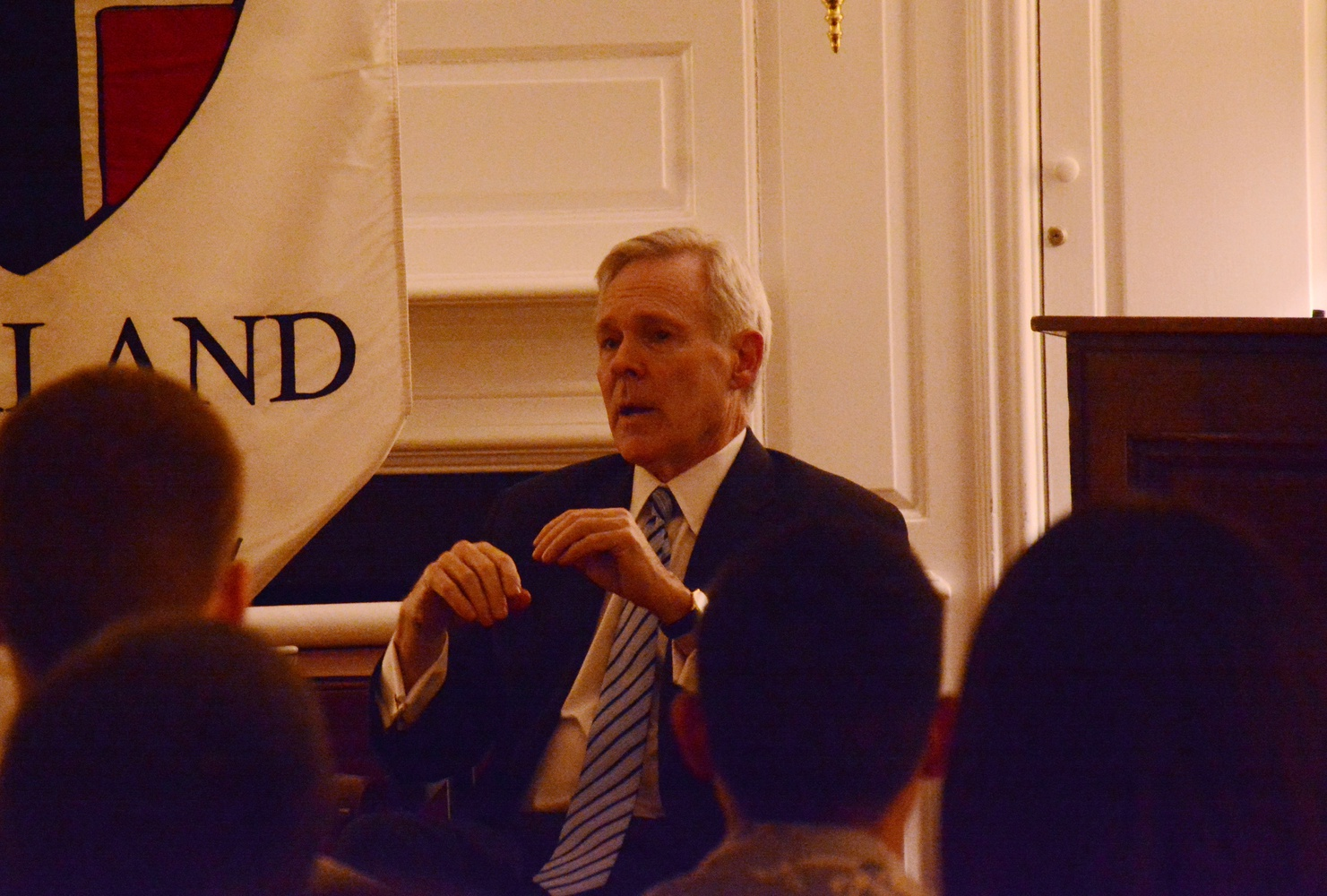 Raymond E. Mabus, former Secretary of the Navy, talks about the future of U.S. foreign policy Tuesday night in the Kirkland Senior Common Room. Mabus is an IOP Visiting Fellow.